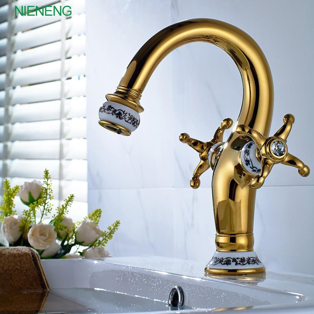 NIENENG bronze golden sumptuous taps gold color mixers hot and cold ...