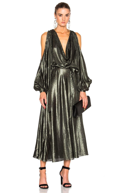 Zimmermann Karmic Metallic Billow Dress In Jungle Modesens Dresses Metallic Cocktail Dresses Silk Cocktail Dress [ 1440 x 953 Pixel ]