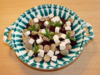 broad beans, feta and beetroot make a lovely salad