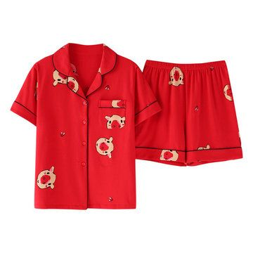 Yimengmei Season Cardigan Lapel Cotton Pajamas Women Shortsleeved Shorts Suit Home Service Yimengmei Season Cardigan Lapel Cotton Pajamas Women Shortsleeved Shorts Suit H...