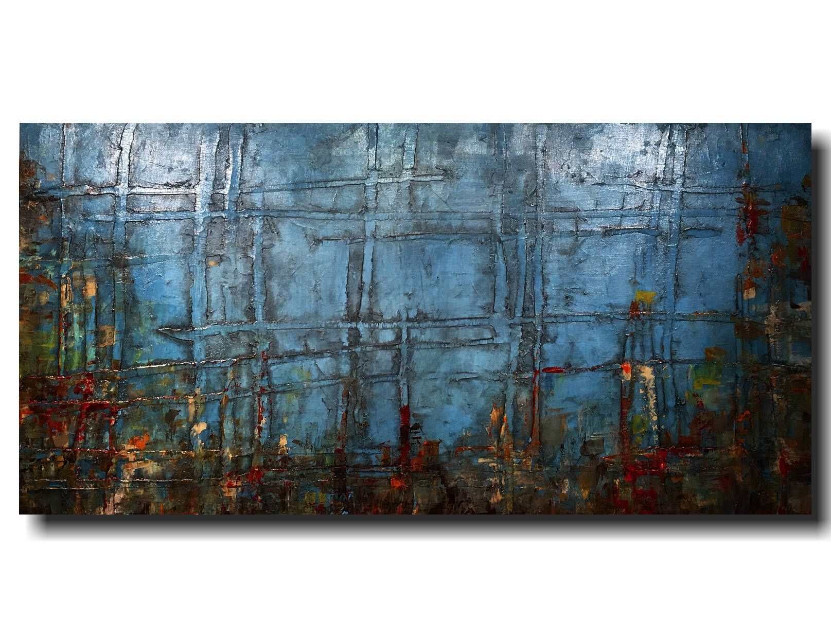 Large abstract painting original art industrial wall art blue