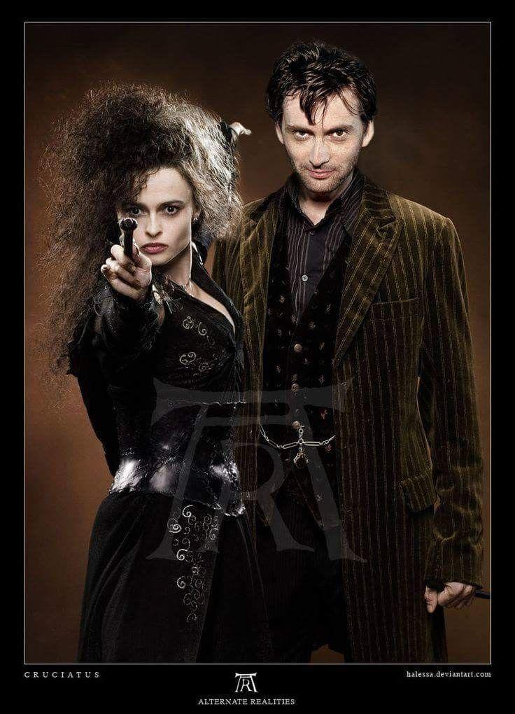 Look Who Is Here Bellatrix Lestrange And Barty Crouch Junior Aka Helena Bonham Carter David Tennant Harry Potter Lestrange Harry Potter Harry Potter Outfits