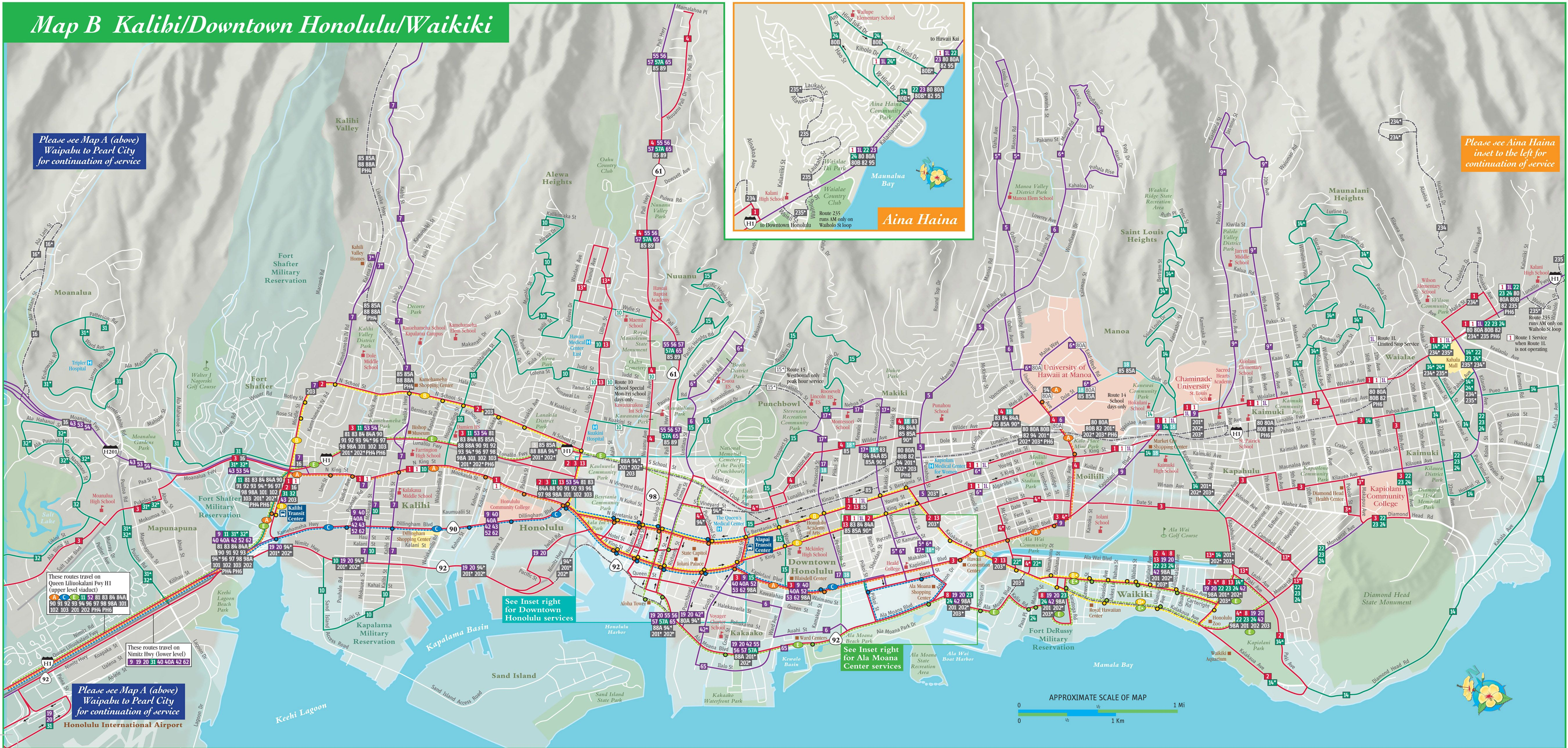 Waikiki area bus map Hawaii Pinterest Bus map and Hawaii