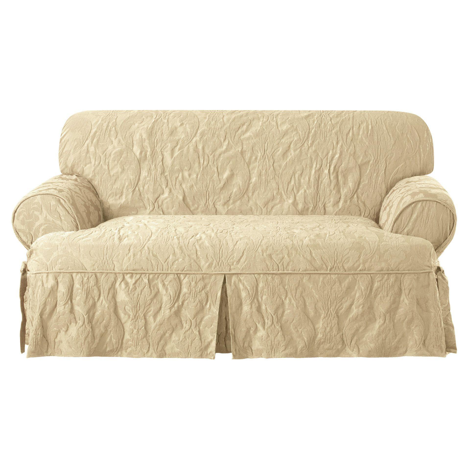 Matelasse Damask T Cushion Loveseat Slipcover In 2021 Loveseat Slipcovers Slipcovers Love Seat T cushion loveseat slipcover