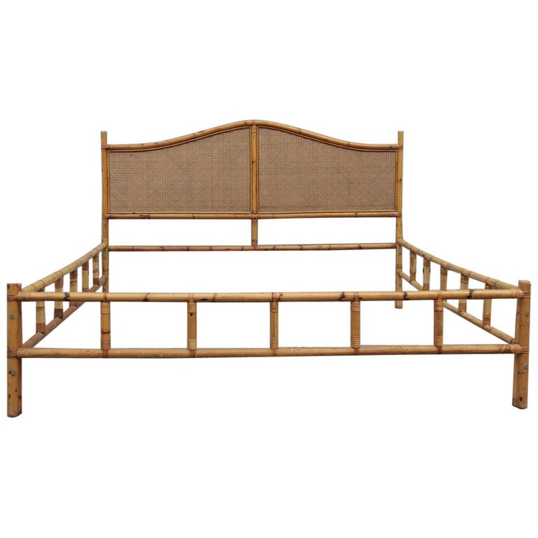 Best Midcentury Matrimonial Bed In Bamboo And Vienna Straw 640 x 480