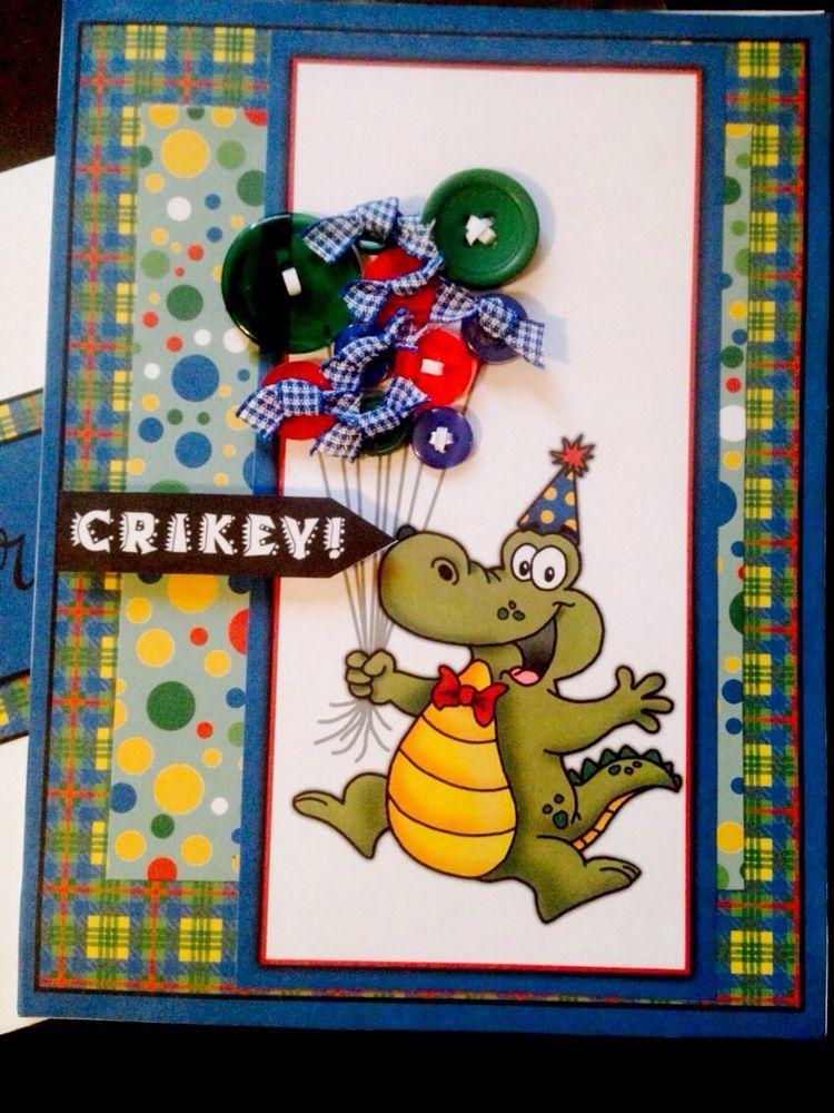 Alligator Birthday Greeting Card With Matching Envelope For Kids Handmade