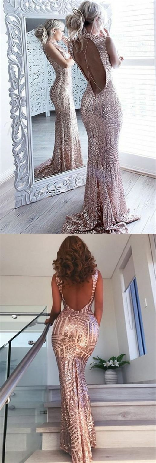 Mermaid jewel open back sweep train rose gold sequined prom dress