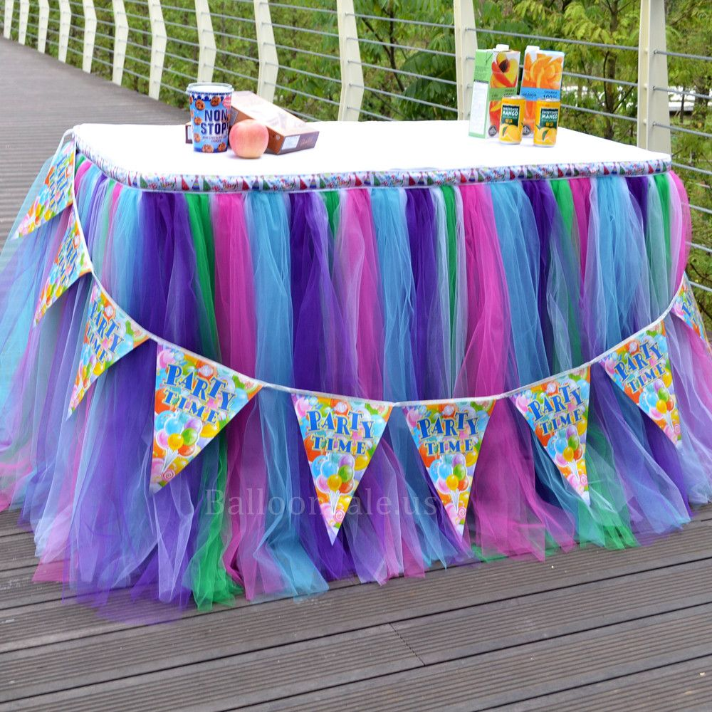 3 Colors Purple Pink Blue And Green Tulle Fabric Table Skirt For Sale On Balloonsale