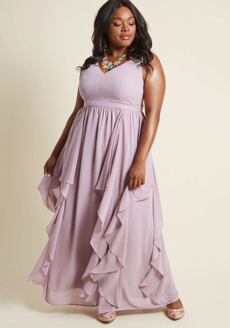 As Ruffles Ripple Maxi Dress In Lavender Plus Size Wedding Dresses With Sleeves Plus Size Wedding Guest Dresses Affordable Bridesmaid Dresses [ 1304 x 913 Pixel ]