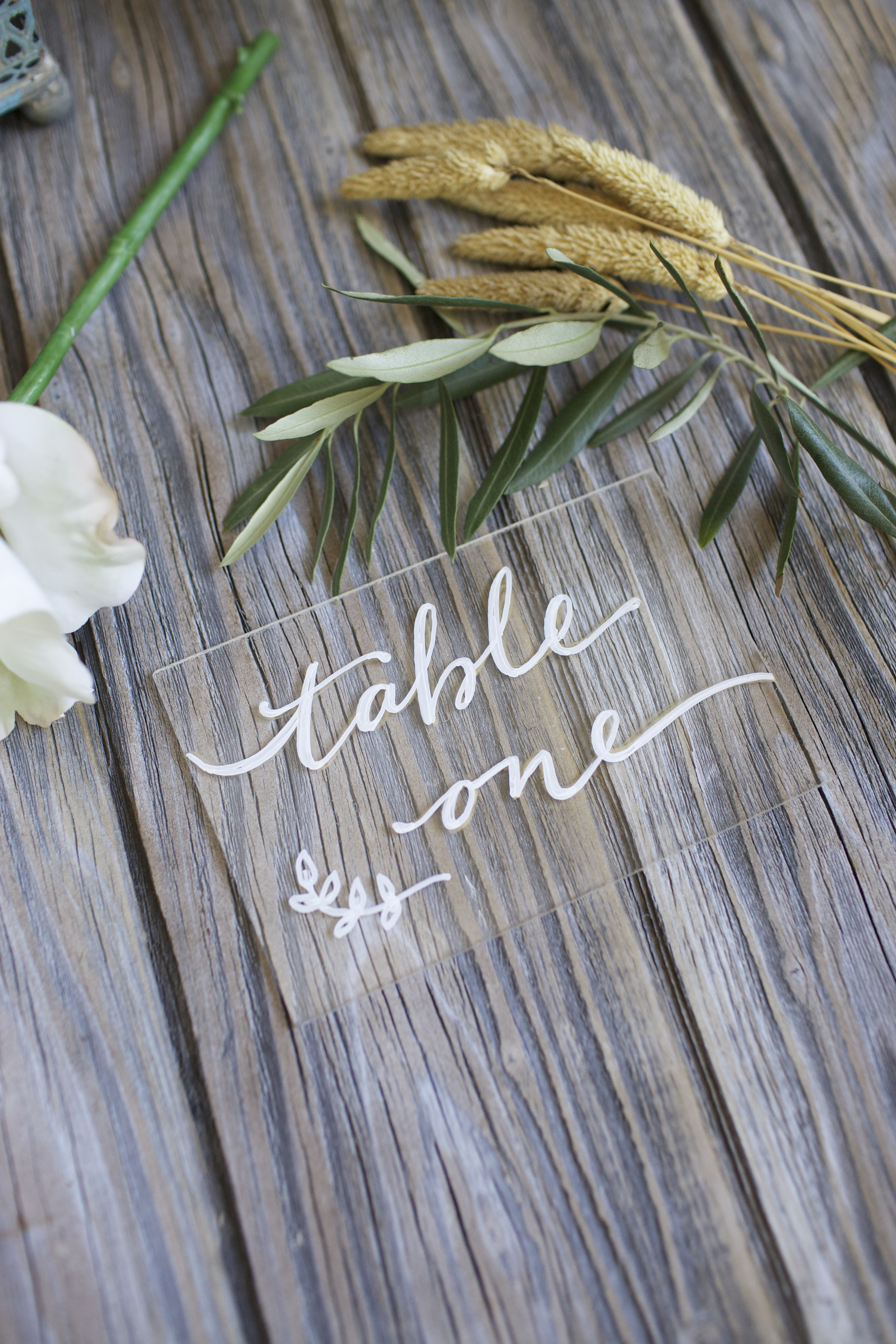 Acrylic Table Names Clear Or With Metallic Backing Wedding Tables
