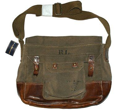 d15692f207 POLO RALPH LAUREN CANVAS LEATHER MEDIUM SATCHEL MESSENGER BAG ...
