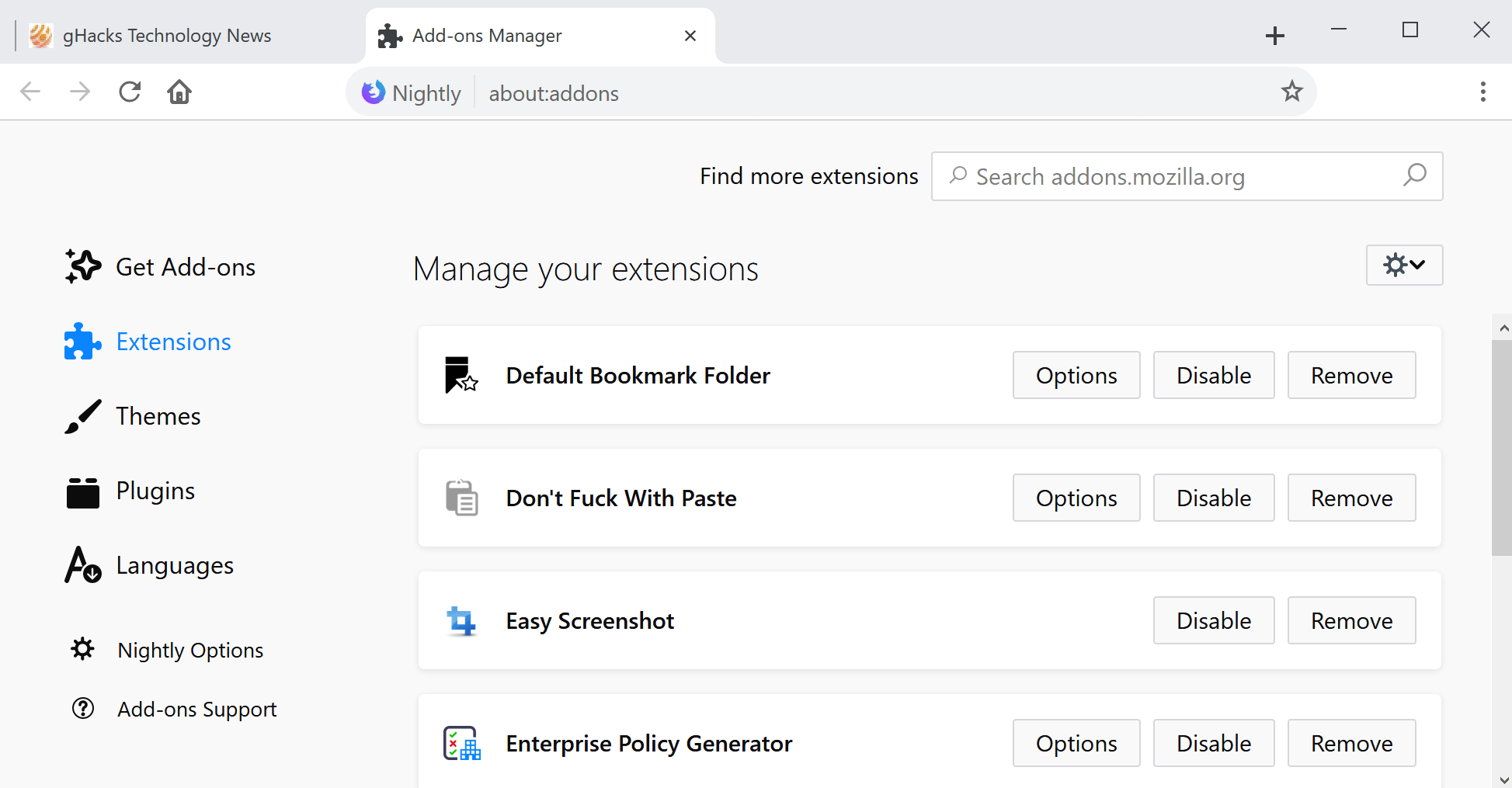 Firefox 64: add-ons manager redesign | Cell Phones | Browser