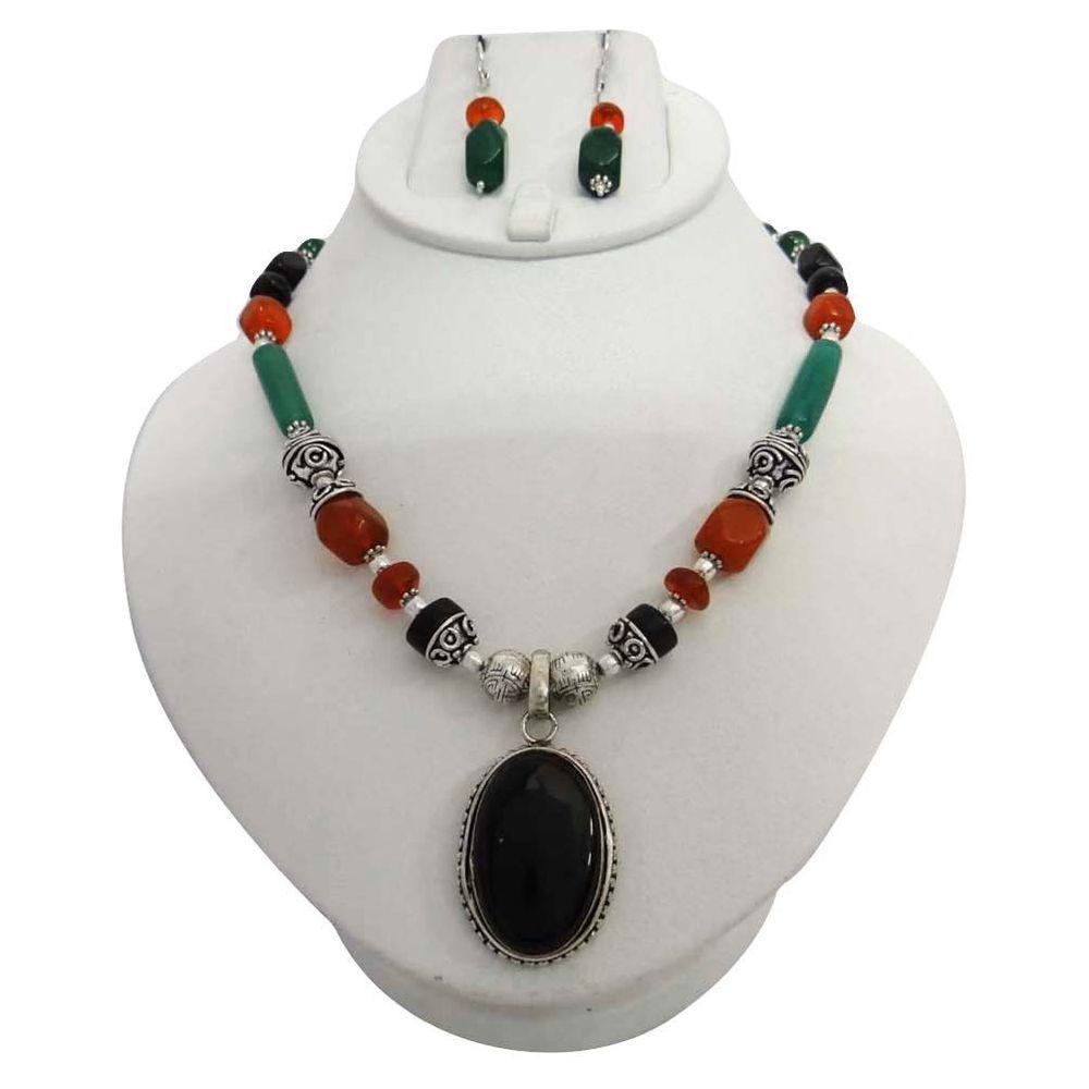 Ethnic multi stone silver tone earring necklace pendant set fashion