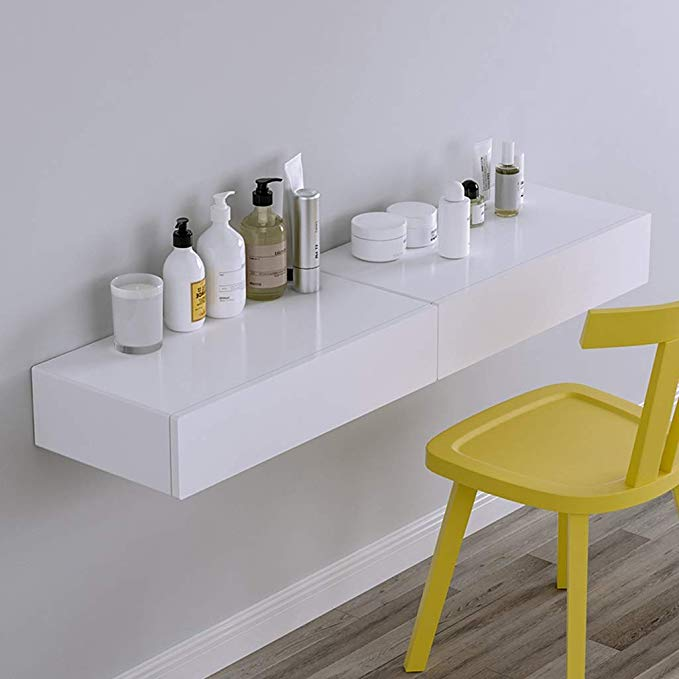 Amazon Com Wall Mounted Tv Cabinet Makeup Table Dressing Table Book Table Bedside Table Bed In 2020 Dressing Table Shelves Storage Cabinet With Drawers Dressing Table
