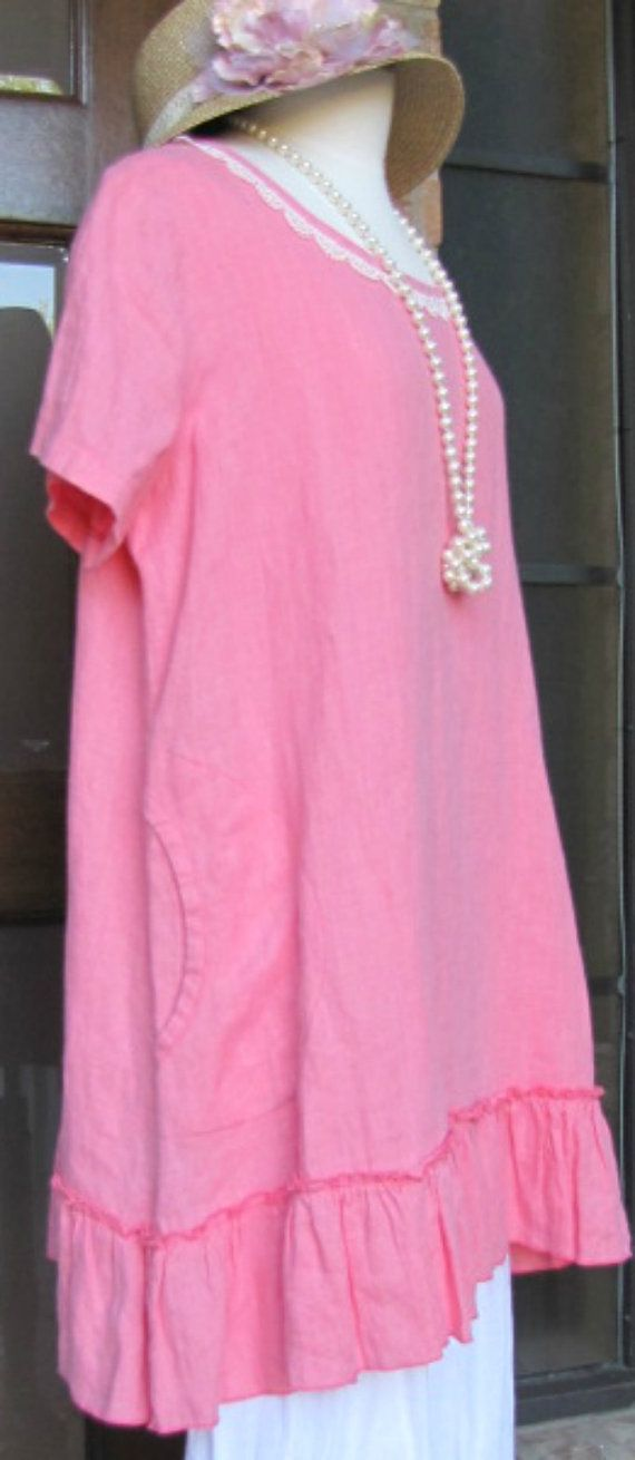 Ladies short sleeve Coral 100% Linen tunic by BeckysSassyCreations