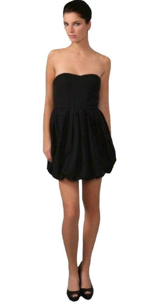 55ee934a936065 Joie Women s Taurus Strapless Bubble Hem Dress Large Caviar. Asymmetric sweetheart  neckline