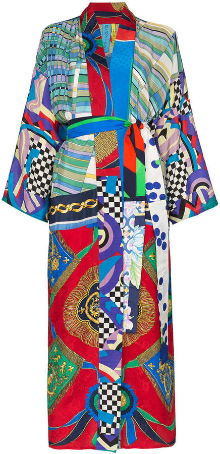 6e4b8df4ae Rianna + Nina Long Multi Checkerboard Floral Print Silk Kimono Robe ...