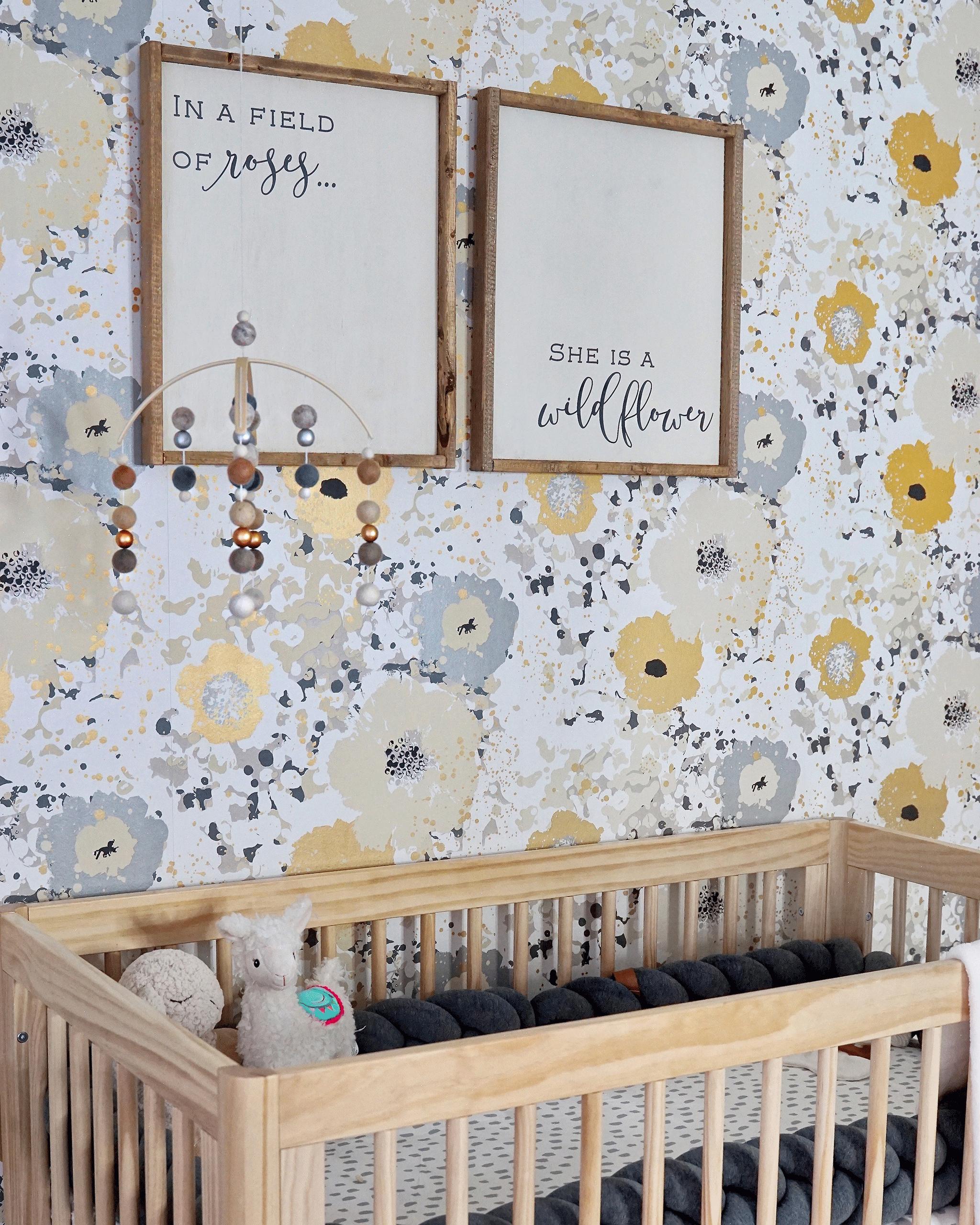 In The Nursery With Liz Eidelman Nursery Grey Floral Wallpaper