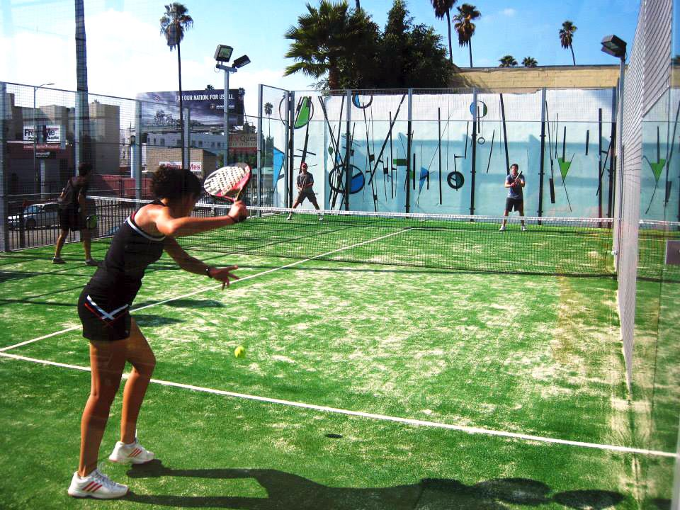 Playing doubles at Sunset Padel World of sports