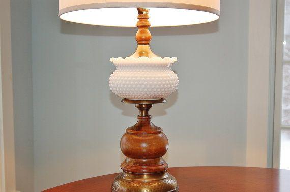 Milk Glass Table Lamp Mid Century Hobnail Milk Glass Lamp Milk Glass Brass Wood Lamp Retro Table Lamp S Milk Glass Lamp Shabby Chic Lamps Retro Table Lamps