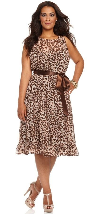 Jessica Howard Plus Size Dress Sleeveless Belted Animal Printed