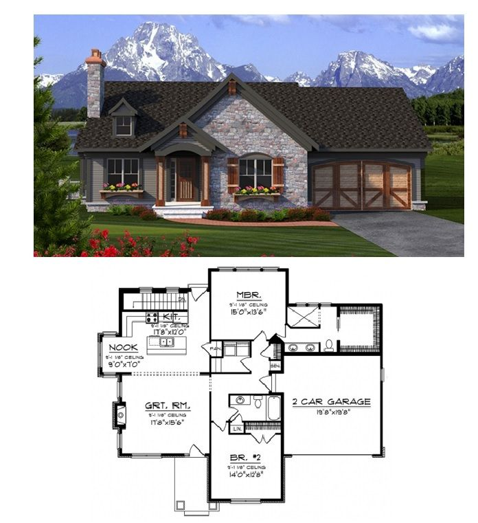 Ranch Style House Plan 2 Beds 2 Baths 1518 Sq Ft Plan 70 1189 Ranch Style House Plans Cottage House Plans Ranch Style Homes