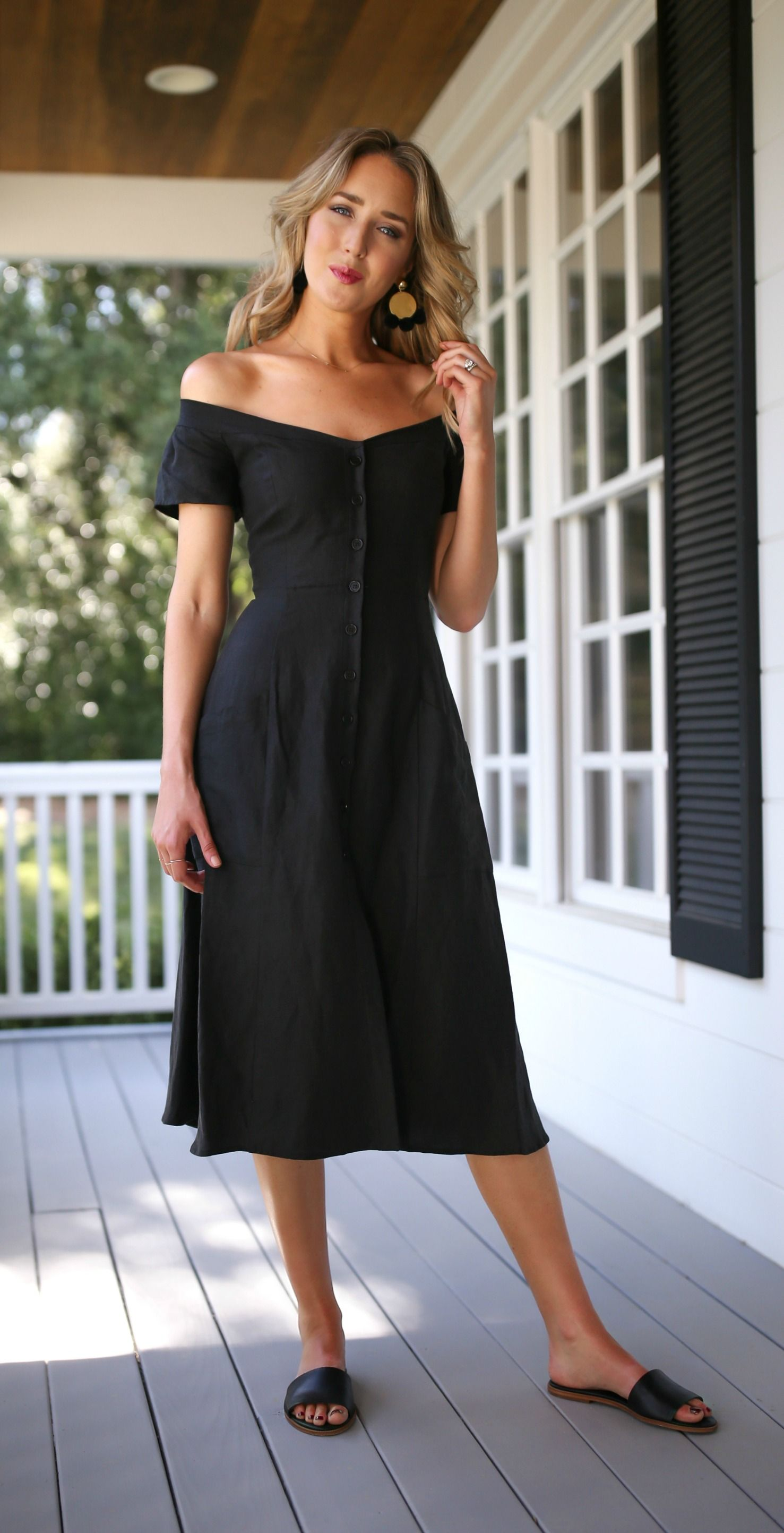 9f1a9b631d00 Weekend Style // Black linen off the shoulder midi dress, statement  earrings + black slides {reformation, elizabeth and james, hinge, classy,  casual, ...