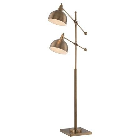 Cupola 2 Light Floor Lamp Brushed Brass Includes Cfl Light Bulb Cool Floor Lamps Metal Floor Lamps Floor Lights