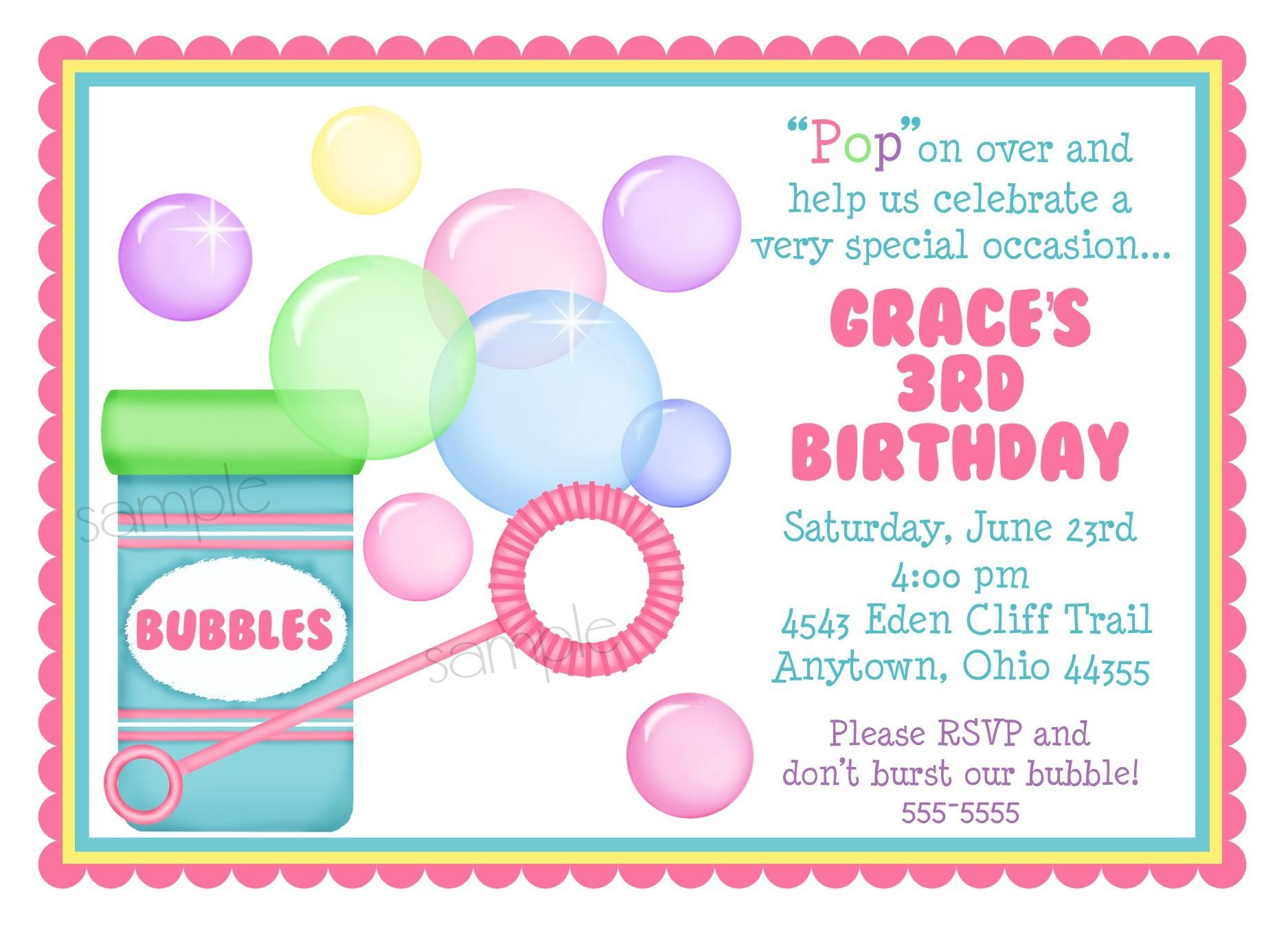 Bubble Invitations Blowing Bubbles Bubbles Birthday Party
