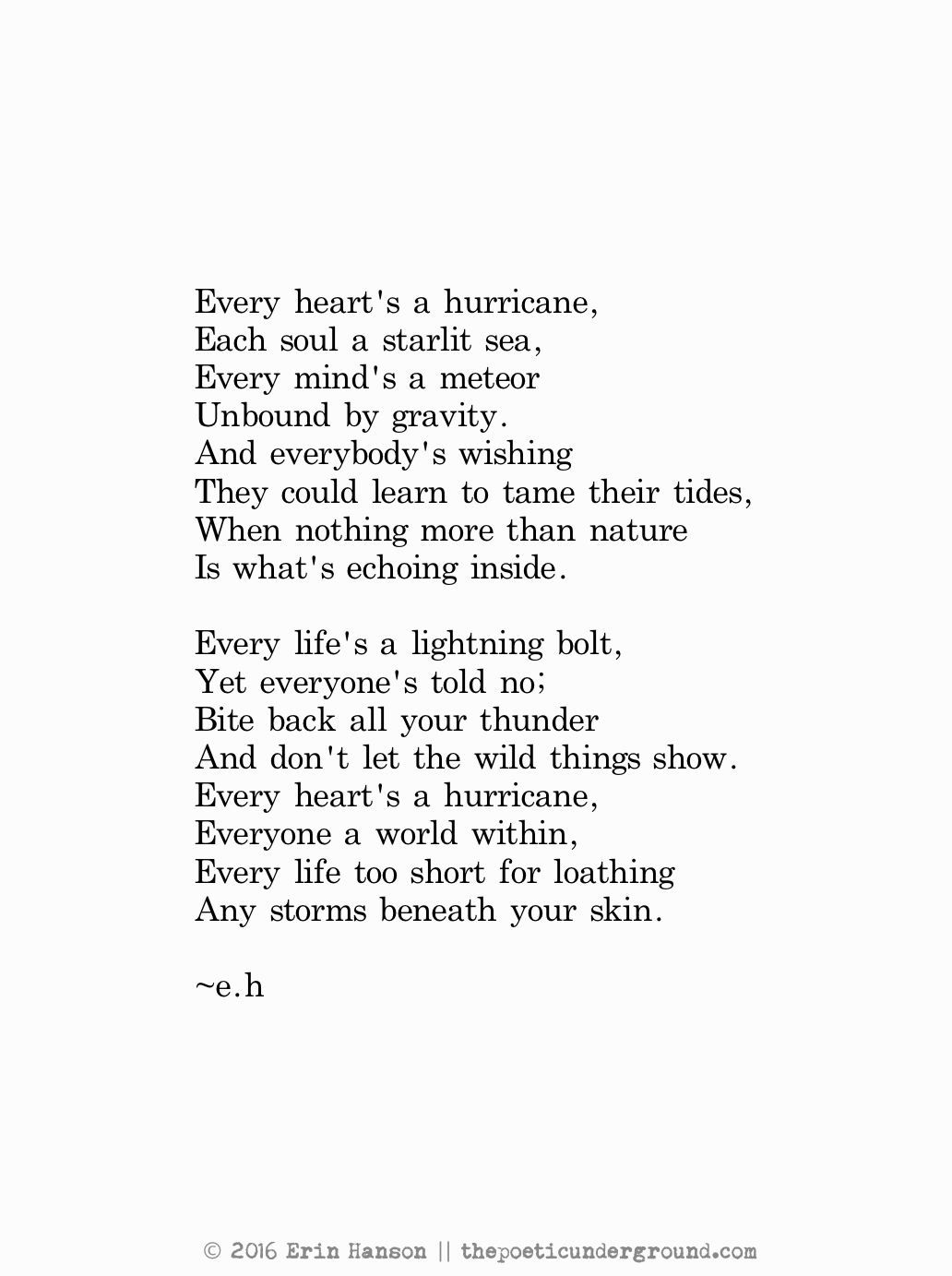 Every Heart a Hurricane. September 10th 2016. My poetry ...
