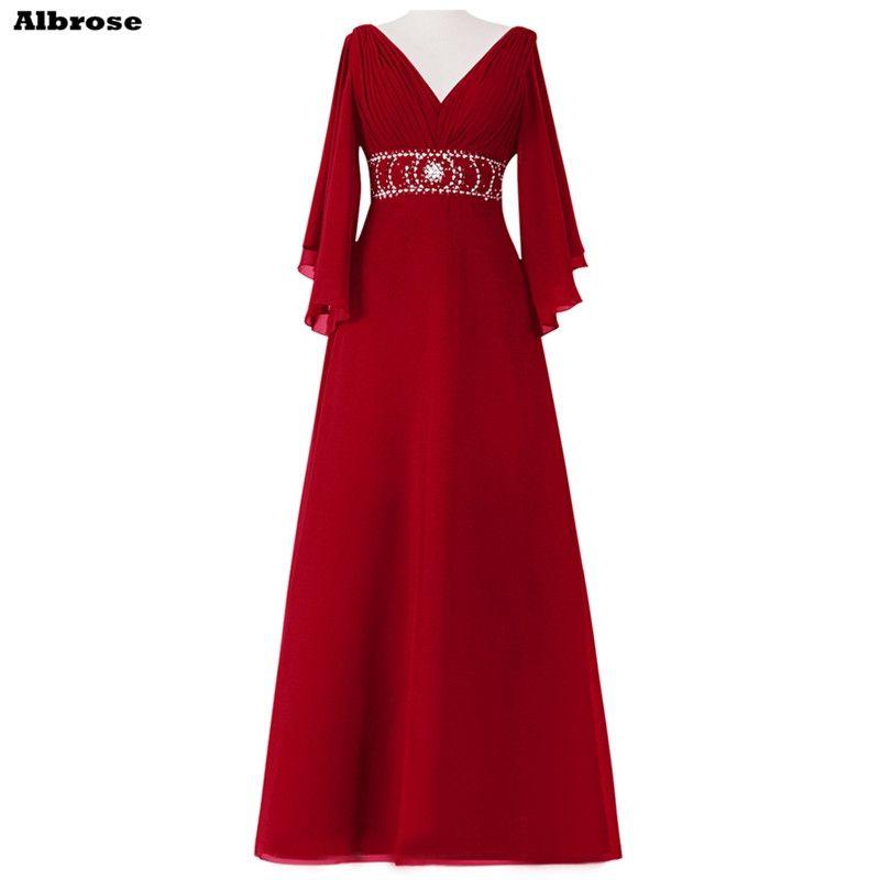 Simple Wedding Dress For Godmother: V Neck Mother Of The Bride Dresses Three Quarter Sleeve