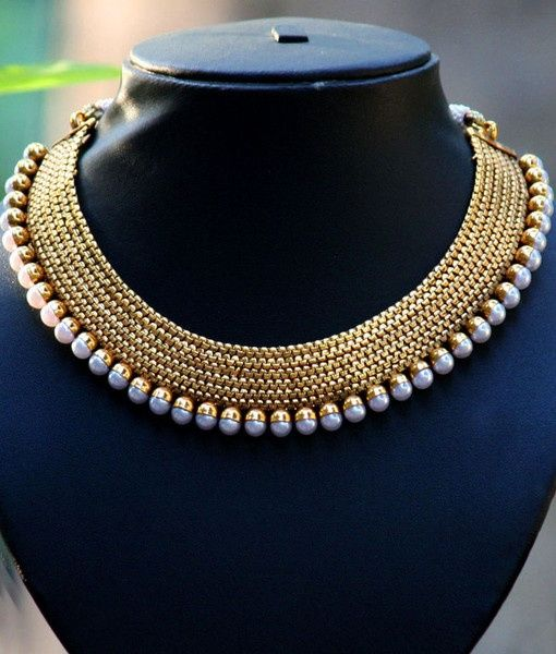 Amazing Thick Gold And Pearls Collar Necklace