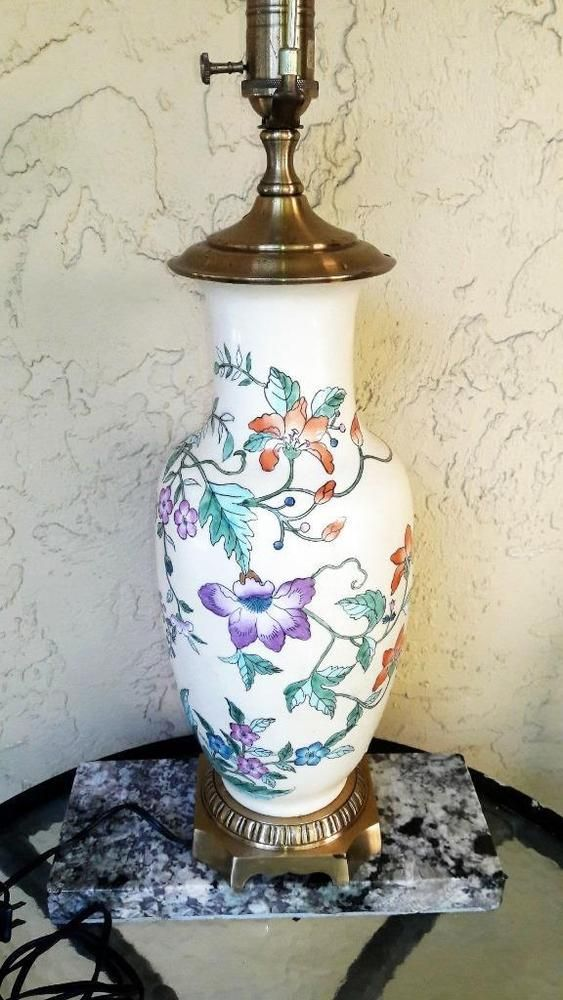 Vtg Wildwood Porcelain Ginger Jar Vase Lamp Asian Chinese Mid