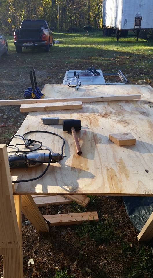 not much to see here my table and tools 2x4 scraps and a strut.