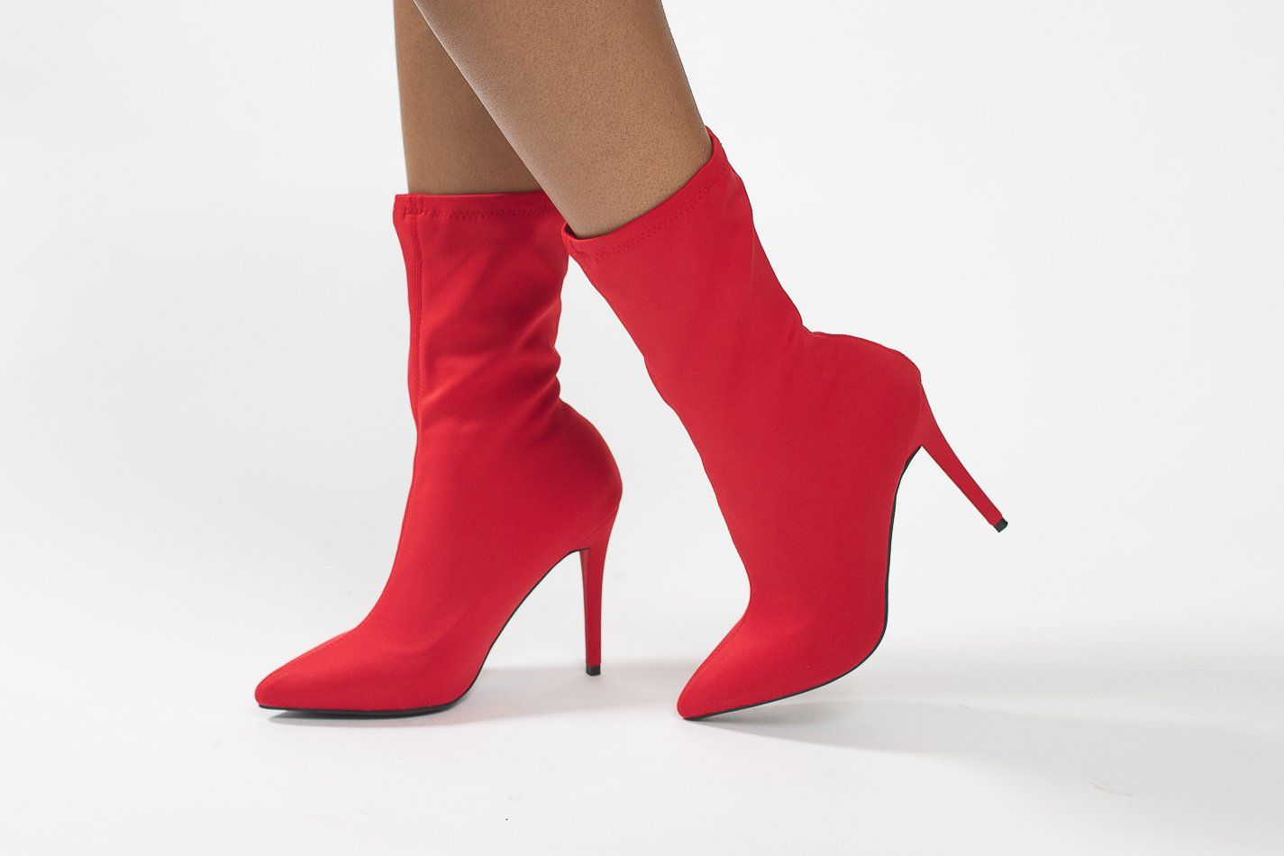 542fdce7b7d4a Vivian Red Lycra Pointy Toe Booties | Shoes | Pinterest | Red, Red ...