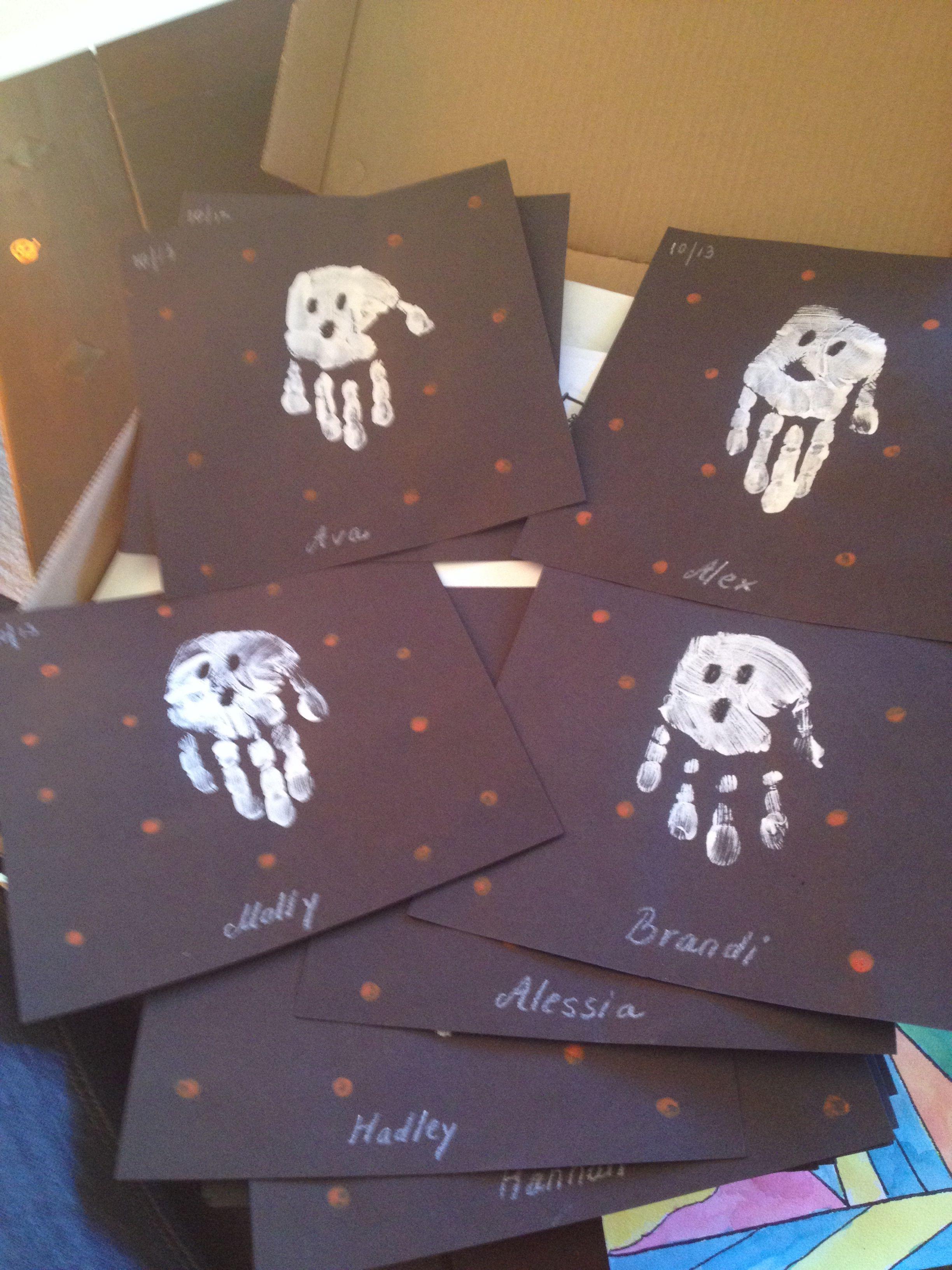 Ghost Handprints Kindergarten Halloween Project