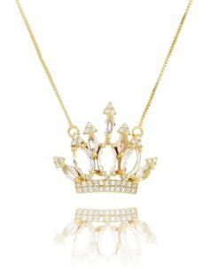 colar coroa com zirconias cristais folheado a ouro semi joias de luxo 87d165d458