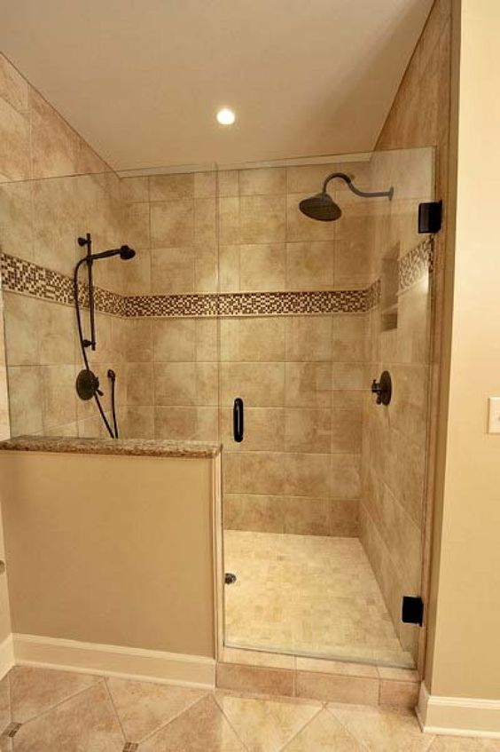 Marble Tile Wall Shower With Half Wall Google Search - Bathroom layout ideas walk in shower