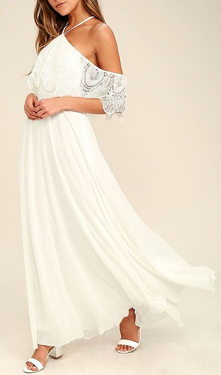 Unmatched Beauty White Lace Off The Shoulder Maxi Dress Classy Dress Beautiful Dresses Fashion