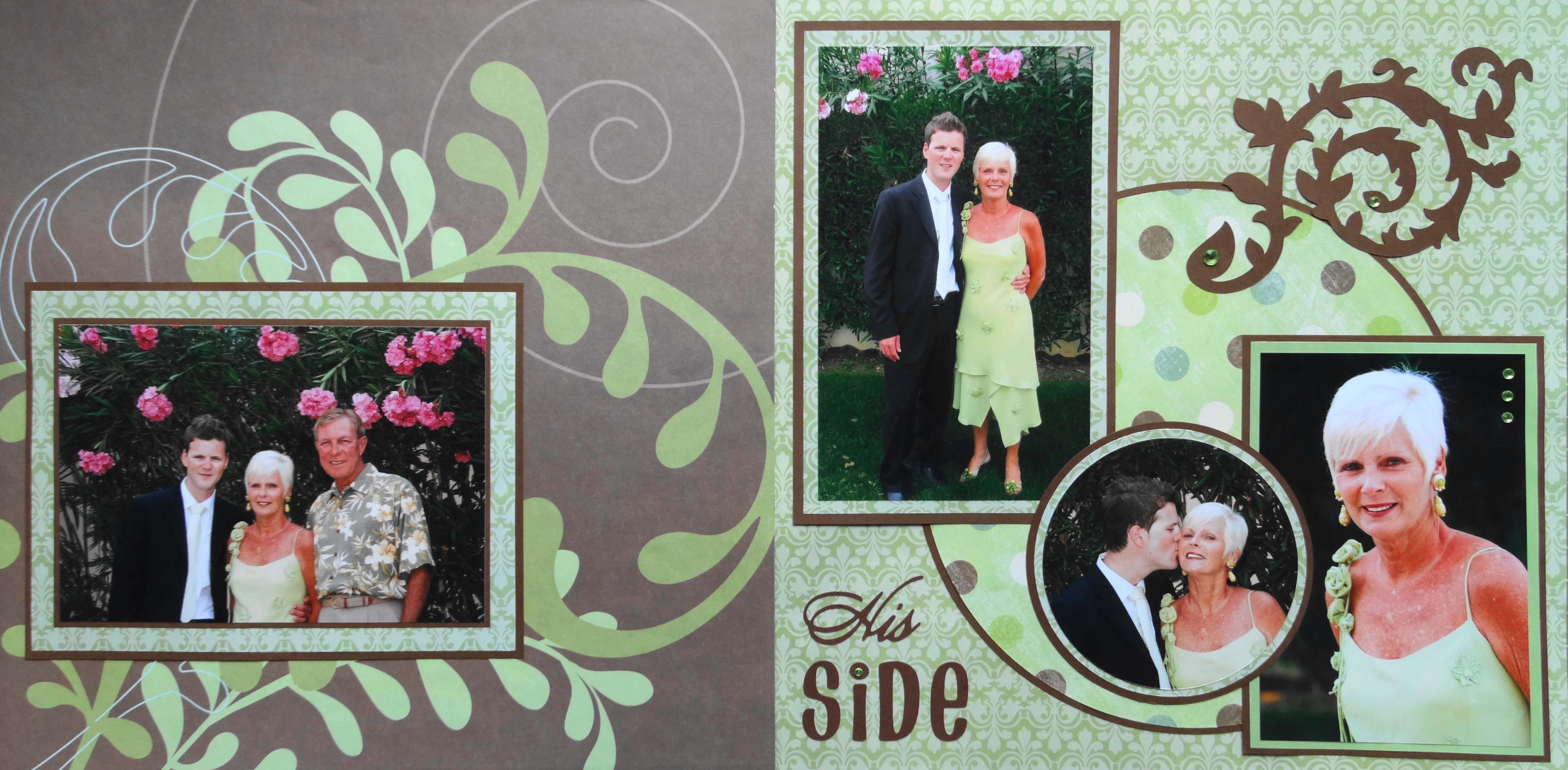 Wedding scrapbook ideas using cricut - Wedding Scrapbook Page Called His Side A 2 Page Wedding Layout Of The Groom S Family With Flourishes From Cricut S Cindy Loo Cartridge