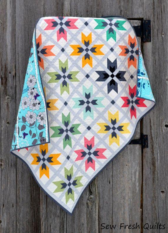 WoW-E Quilt Pattern, PDF,  instant download, modern patchwork, KONA Solids, blue, grey, pink, green, orange, black, yellow, white.