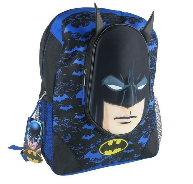 535f543cb4 NWT Boys 3D BATMAN Backpack School book bag 16 inch Blue Bat Man Back Pack  Face  Backpack