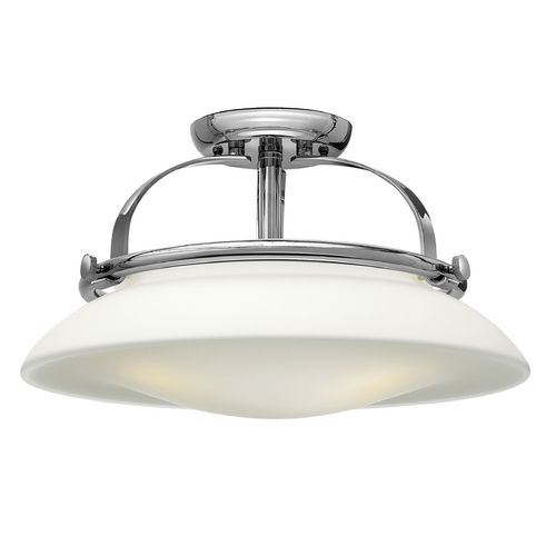 Semi flushmount light with white glass in chrome finish chrome finish chrome and hinkley lighting