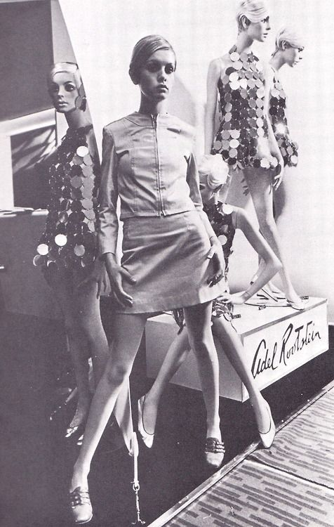 Twiggy with mannequins designed by The Adel Rootstein Studio, 1966.