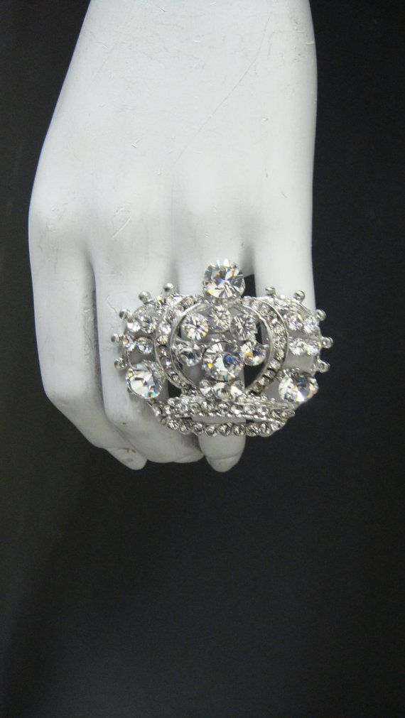 Princess Crown Ring made with Clear by MariannaHarutunian on Etsy, $45.00