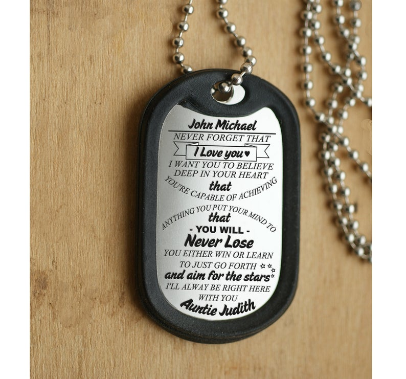 Mens Dog Tag To My Nephew Pendant Necklace Nephew Gift From Aunt