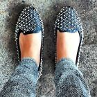 Women's JEFFREY CAMPBELL black leather silver studded spike flats loafers size 8