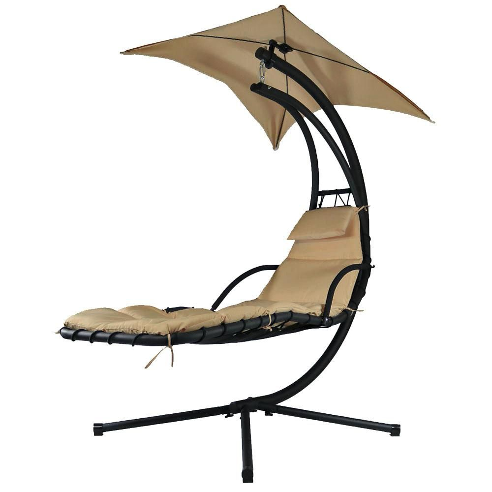 Sunnydaze Decor Floating Metal Patio Chaise Lounge Chair With Umbrella And Beige Cushions Hh Flc Beige Patio Chaise Lounge Hanging Swing Chair Swinging Chair