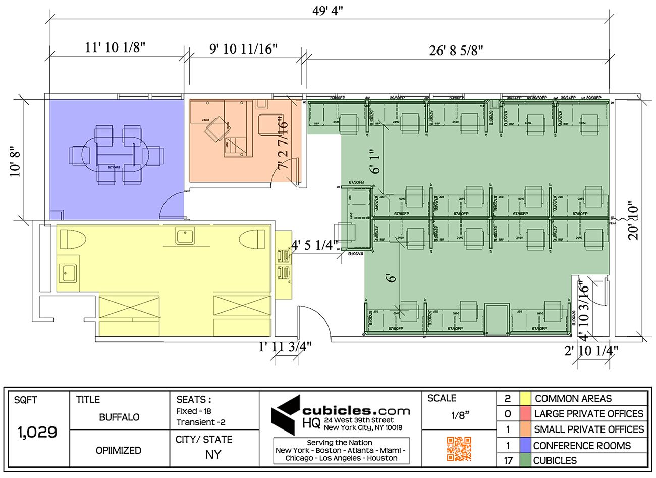 Cubicle layout for 1 029 square footage with 17 office for Cubicle floor plan