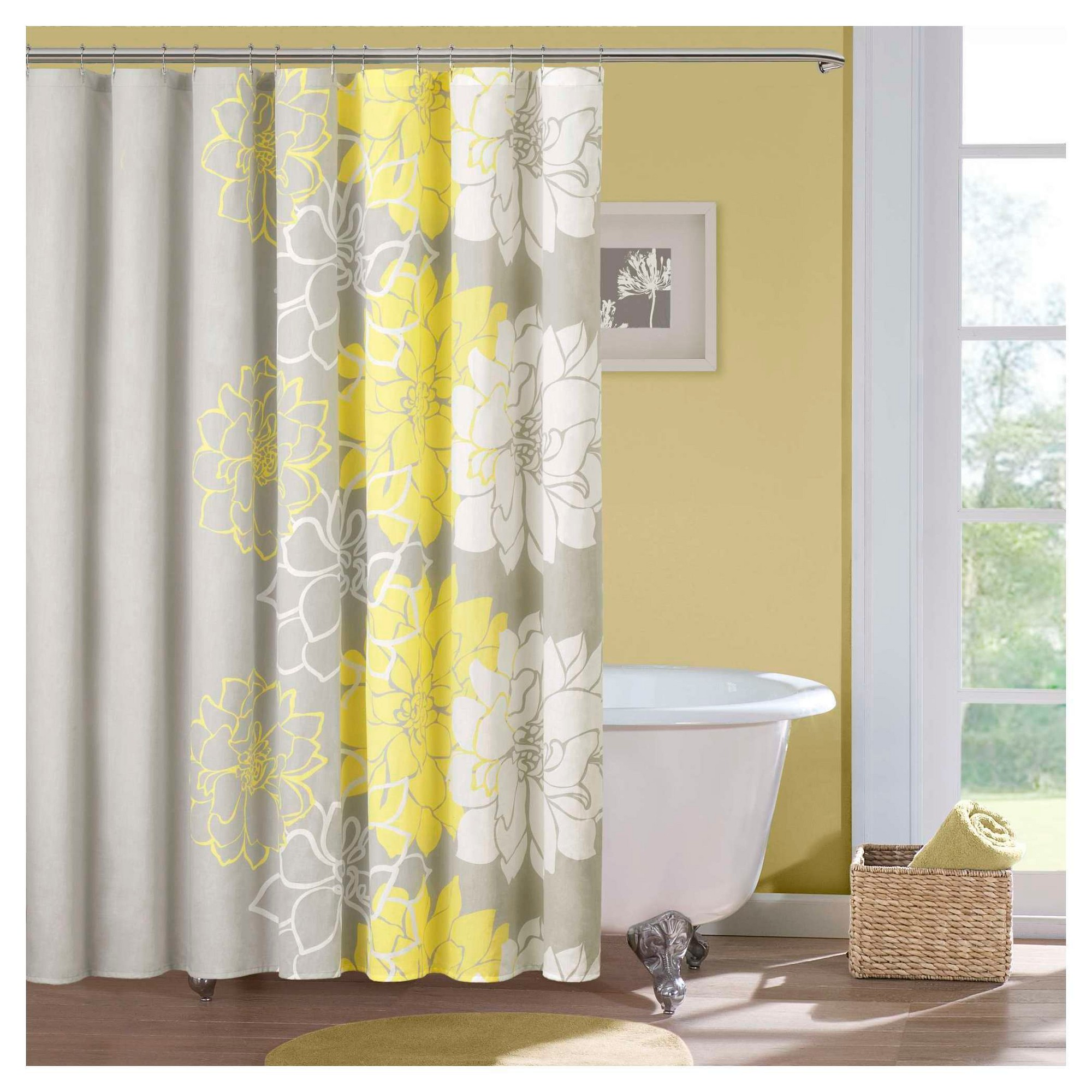 solid kitchen rings of shower yellow gray breathtaking size curtain large drapes curtains white and
